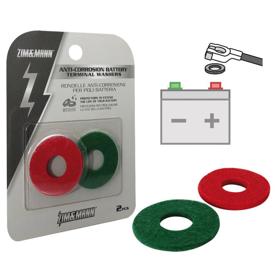 ZHITING 12 Pezzi Morsetto Batteria Rondelle Anticorrosione Fiber Battery Terminal Protector Per Positivo e Negativo 6 Rosso e 6 Verde